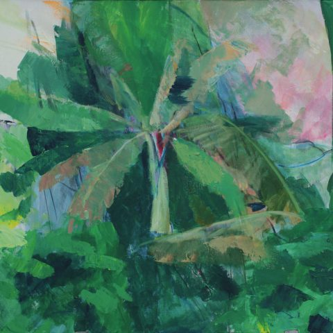 Aakryl maleri af Maja de Hemmer. Green India. 50 x 60cm.